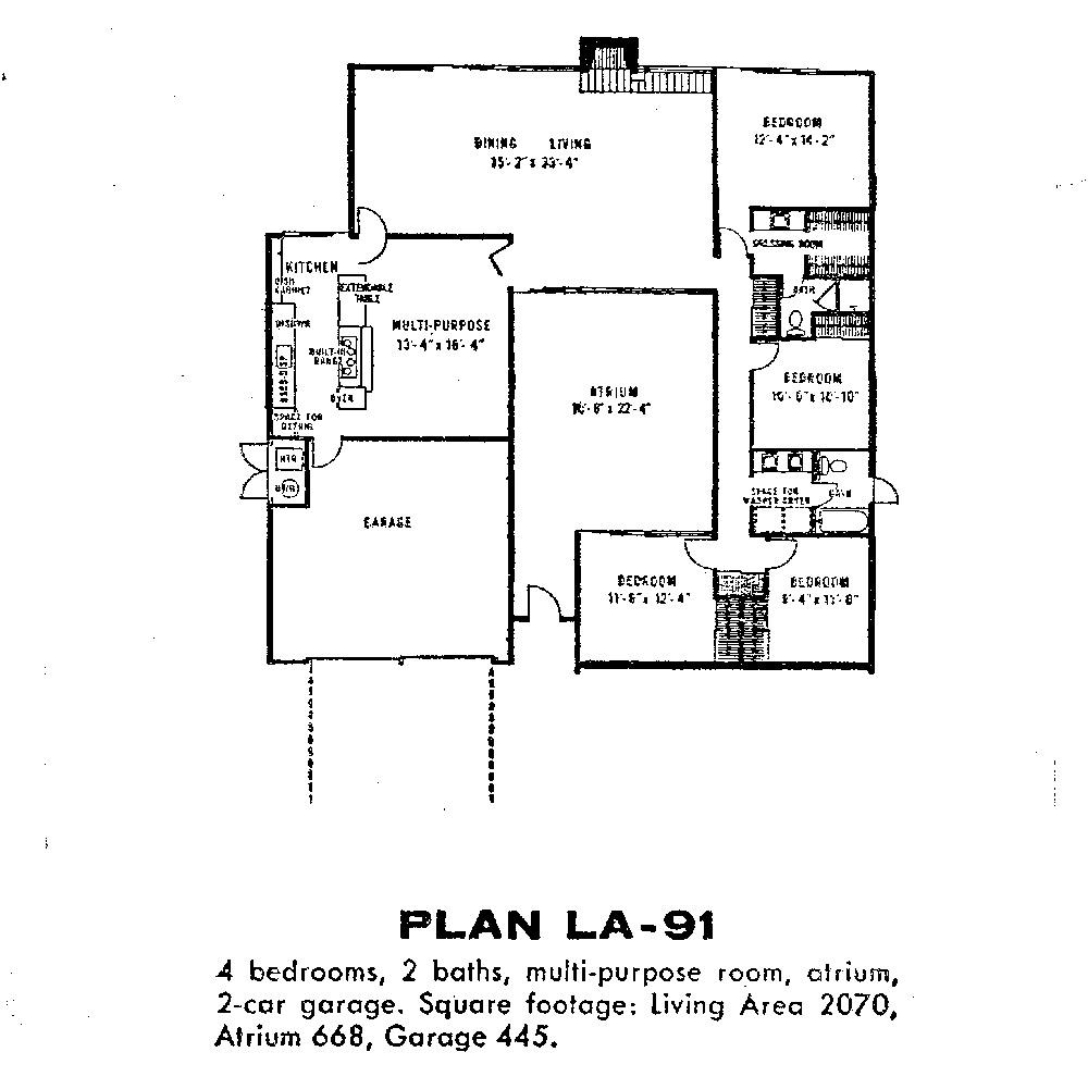 A Kitchen Fairhaven: Eichler Floor Plans-Fairhaven