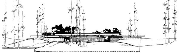 Elevation of Case Study House #24 published by Jones & Emmons in Arts and Architecture magazine; 1961